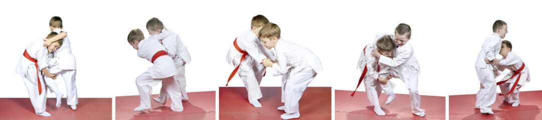 In kindergarten, the children are trained judo sparring collage