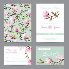 Wedding Invitation. Congratulation Card Set. Save the Date. Magnolia