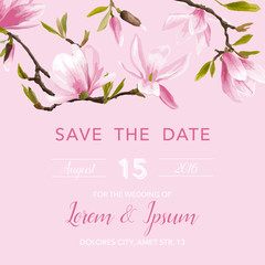 Wedding Invitation Card - with Floral Magnolia Blossom Background