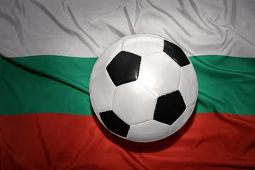 black and white football ball on the national flag of bulgaria