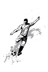 Illustration of soccer player kicking the ball