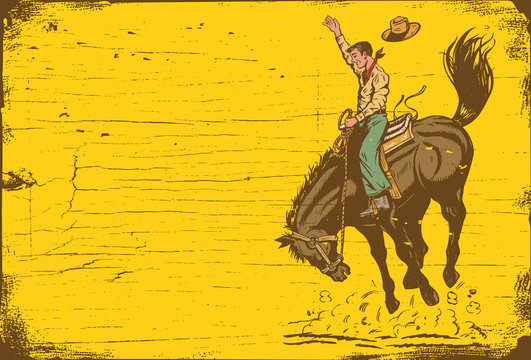 Man riding bucking bronco with on a wooden sign