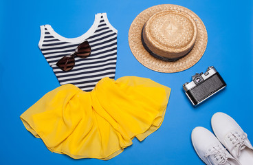 Summer set of woman clothes and accessories
