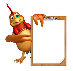 Chicken cartoon character with exam pad