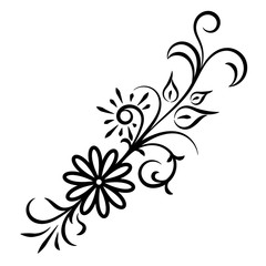 Doodle abstract black handdrawn flower ornament