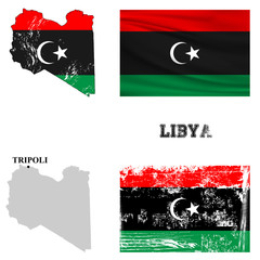 Map and flag of Libya in the ancient and modern style.