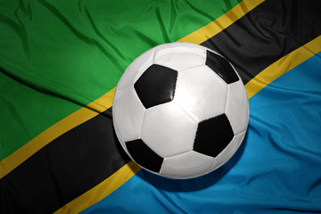 black and white football ball on the national flag of tanzania