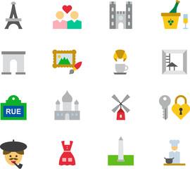 PARIS & FRANCE colored flat icons