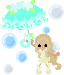 The cute girl with a aqua stylish umbrella