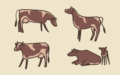 Cow set. Cows, bull and calf. Vector illustration.