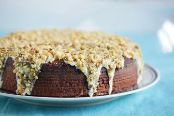 Toasted hazelnut cake with white chocolate ganache