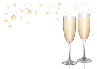 Champagne flutes with bubbles