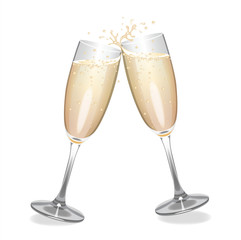 Champagne flutes clinking