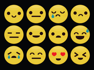 Set of emoticons,  isolated on black background, vector illustration.