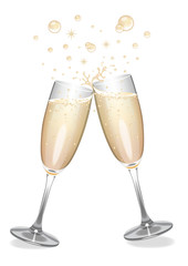 Champagne flutes clinking with bubbles