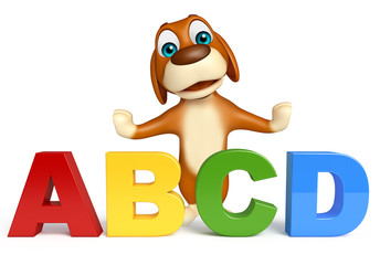 cute Dog cartoon character  with ABCD sign
