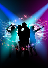 Party People Background - Dancing Silhouettes and Starry Effect Illustration, Vector