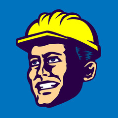 construction worker engineer man face with safety hard hat, yellow helmet, vector worker illustration