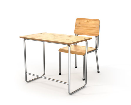 school desk and chair on white background. 3d illustration