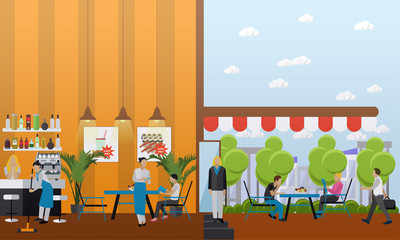Vector set of banners with restaurant interiors. Bar and street cafe in flat design