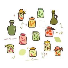 Doodle Jars vector set