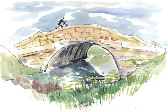 rural bridge, watercolor, sketch