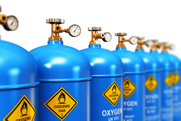 Row of liquefied oxygen industrial gas containers