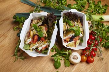 natural healthy food vegetables, herbs, mushrooms, cheese
