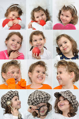 Collage of twelve photos of a smiling young girl
