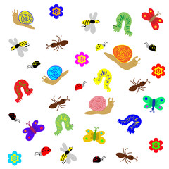 Vector Illustration. Funny Colored Doodle Insects isolated on White