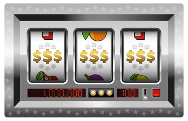 Dollar symbols win - silver slot machine. Isolated vector illustraon on white background.