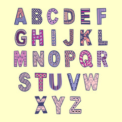 hand drawn font in doodle style. Vector letters  background. Col