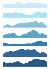 Seamless mountains silhouettes set. Vector collection.