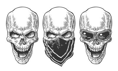 Skull smiling with bandana and glasses for motorcycle
