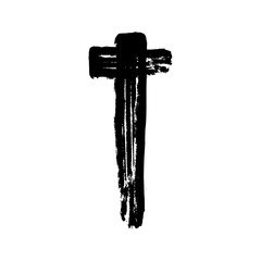 Christian cross grunge vector religion symbol