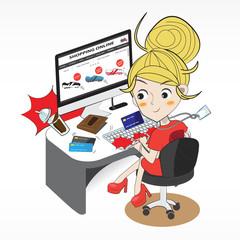 shopping online cartoon character
