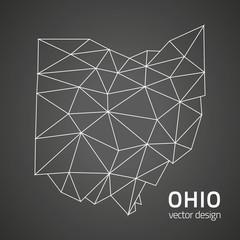 Ohio grey vector polygonal map