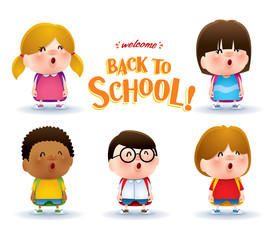 Cute school kids. A variety of adorable kids for back to school design.