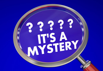 Its a Mystery Magnifying Glass Find Clues Solve Words 3d Illustr