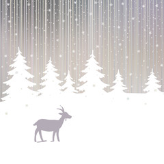 Winter Forest and Goat New Year Background