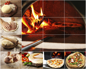 Collage of cooking pizza