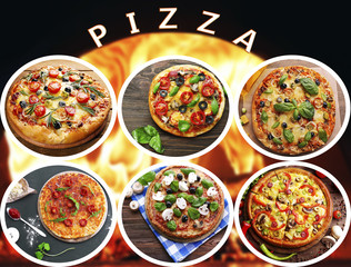 Set of different pizza