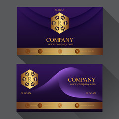 business card with shadow two sides template vector gold