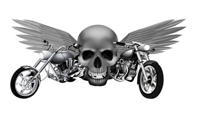 road motorcycles  on the background of a skull with wings