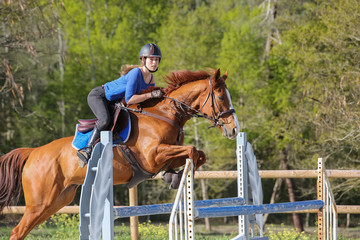 horsewoman training to jump before competition