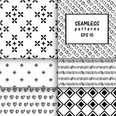 Set of six vector seamless Black and white pattern. Abstract flo