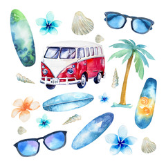 Hand drawn watercolor ocean surfing set. Beach holiday tropical