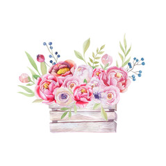 Watercolor flowers wooden box. Hand-drawn chic vintage garden ru