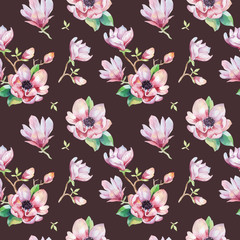 Watercolor seamless wallpaper with  magnolia flowers, leaves.