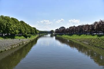 L'Ourthe près de son confluent avec la Meuse à Liège